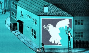 Illustration by Ellie Foreman-Peck: of 'dove of peace' mural being painted out