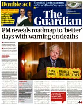 Guardian front page, Tuesday 23 February 2021