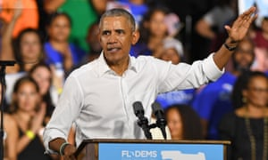Barack Obama campaigns for the Democrats in Florida.