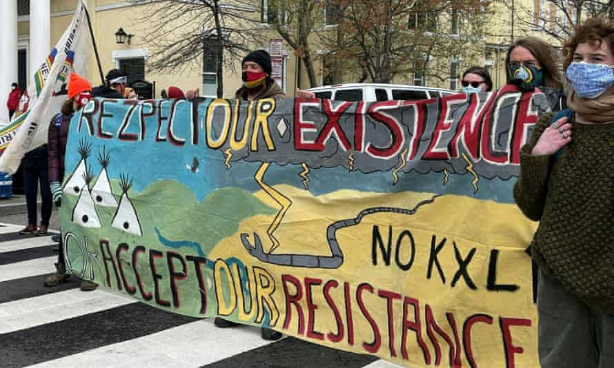 Activists protesting the pipeline in Washington, DC in April.