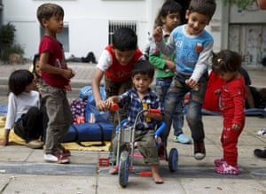 Athens, Greece: Syrian children play in Victoria Square