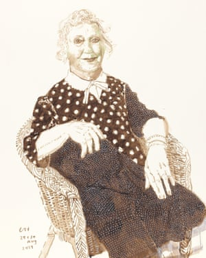 'Celia Birtwell, 29 and 30 Aug 2019' by David Hockney, which features in his exhibition David Hockney: Drawing from Life, at the National Portrait Gallery in London.