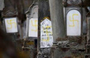 Swastikas at the Jewish cemetery in Quatzenheim