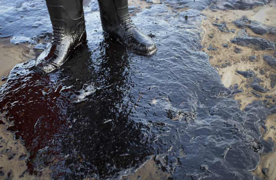 Oil on a beach in Goleta, California, where about 21,000 gallons spilled from an abandoned pipeline in 2015.