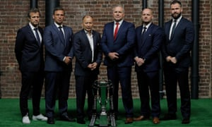 The Six Nations coaches assemble: France's Fabien Galthié, Italy's Franco Smith, England's Eddie Jones, Wales' Wayne Pivac, Scotland's Gregor Townsend and Ireland's Andy Farrell.