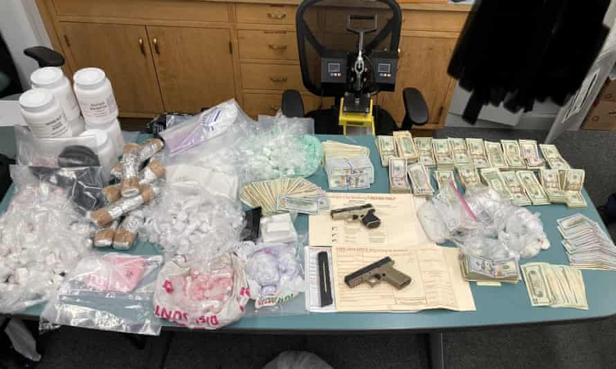 Fentanyl, cash and unregistered 'ghost guns' seized by the SFPD.