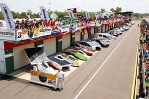 Competitors and their cars at Hidden Valley Motorsport Complex in Darwin before the 2019 World Solar Challenge