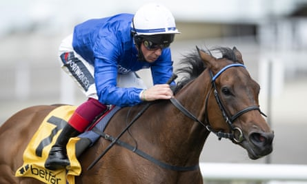 Terebellum, ridden by Frankie Dettori, wins the Dahlia Fillies' Stakes at Newmarket on Saturday.