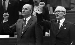 Mikhail Gorbachev with East German communist leader Erich Honecker.