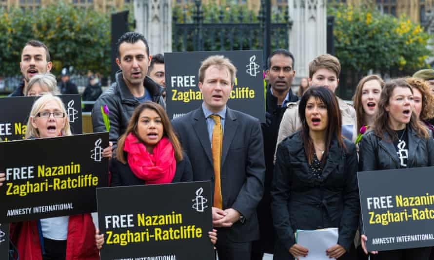 Ratcliffe and his family's supporters took part in a protest earlier this month outside parliament.