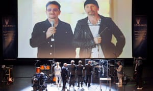 Bono and Dave Howell, aka The Edge, give a speech at the Starmus closing gala.