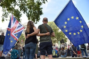 Protesters against Brexit gather near Downing Street