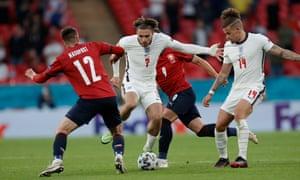 Lukas Masopust of Czech Republic attempts to dispossess Jack Grealish of England.