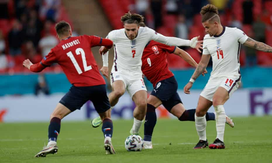 Jack Grealish on the ball against the Czech Republic.  His inclusion or not has been a source of tension among England fans.