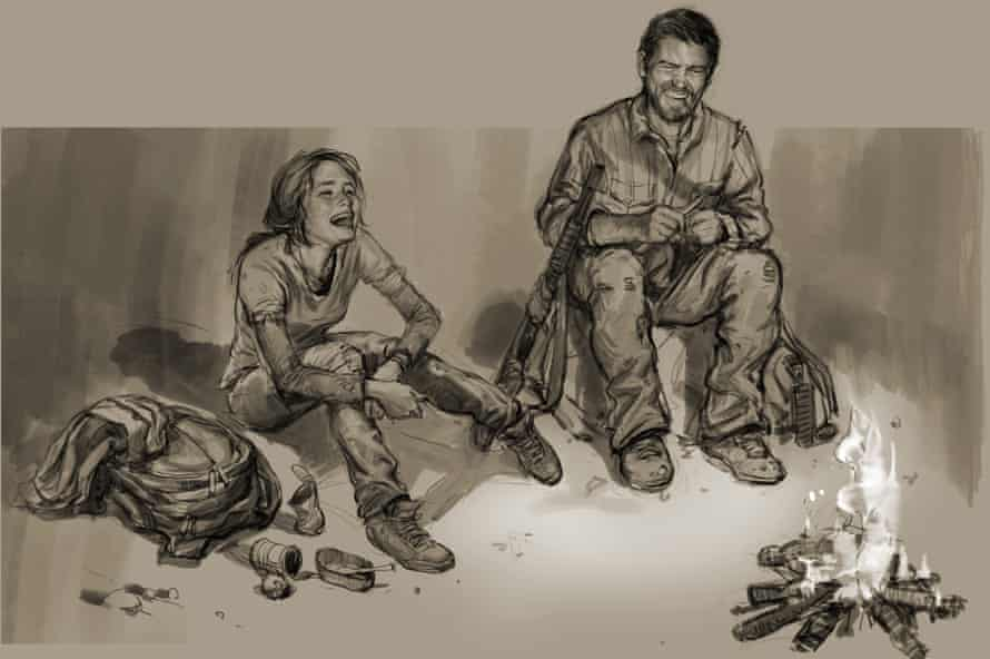Campfire bonding … concept art from The Last of Us.