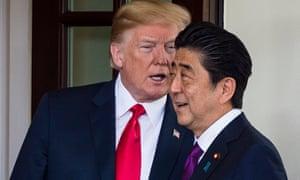 Donald Trump greets the Japanese PM Shinzō Abe at the White House last June.