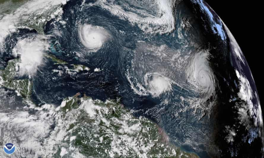 Satellite view of tropical storms in the Atlantic