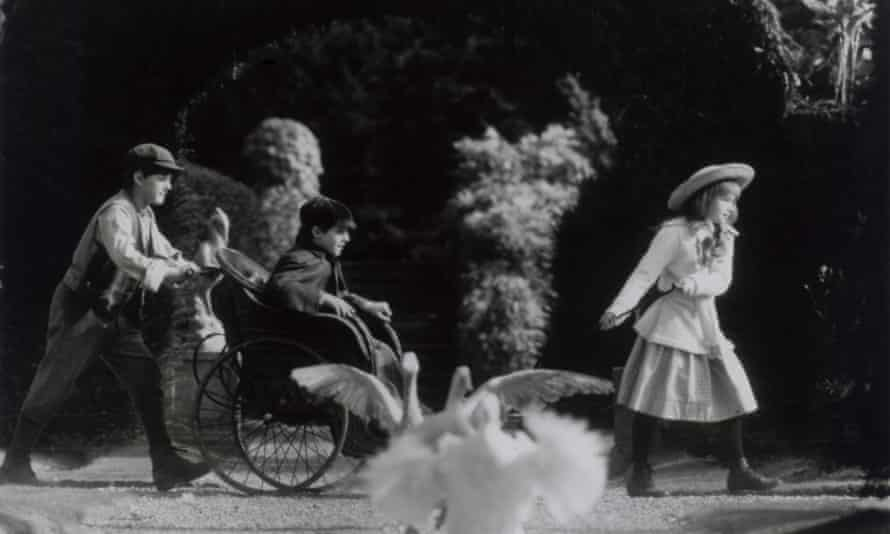 Dickon (Andrew Knott), Colin (Heydon Prowse) and Mary (Kate Maberly) on their way to their hidden refuge in the 1993 film of The Secret Garden