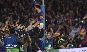 Lionel Messi celebrates at full-time.