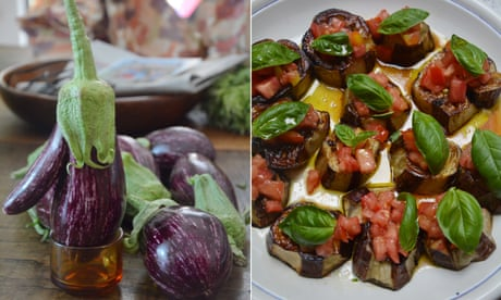 Rachel Roddy's recipe for roast aubergine with tomato and basil   A kitchen in Rome