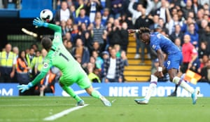 Tammy Abraham of Chelsea attempts to beat Brighton's Mat Ryan but can't find the net.