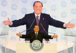 March 2009: Berlusconi delivers a speech in Rome to mark the founding of a new centre-right party called Popolo della Liberta (People of Freedom), uniting Berlusconi's Forza Italia with the National Alliance party