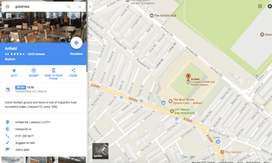 """Google Maps showing Liverpool's Anfield stadium after the word """"gobshites"""" is searched for."""