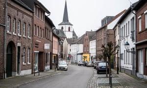 A deserted main street in Gangelt, Germany.