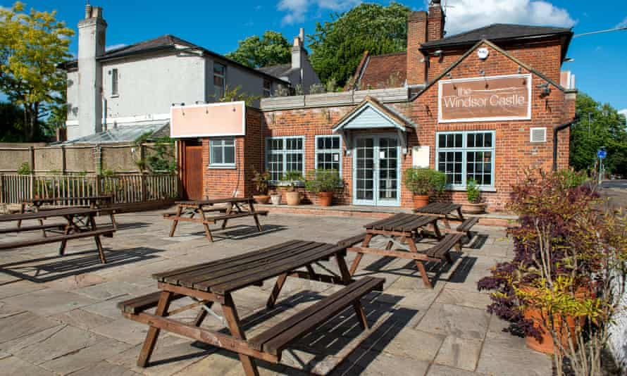 An empty beer garden at the Windsor Castle pub in Maidenhead, Berkshire