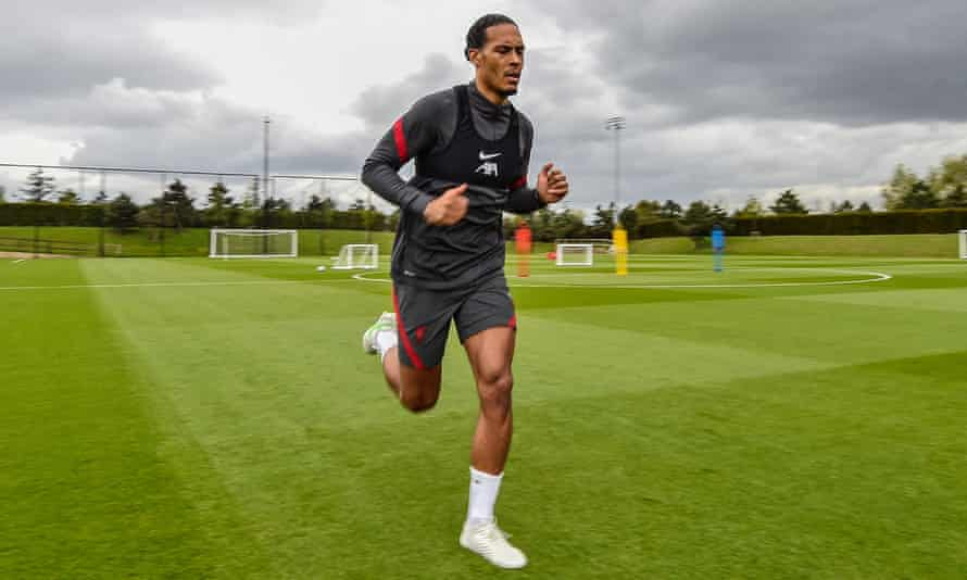 Virgil van Dijk during a rehabilitation session at Liverpool's training ground on Wednesday.