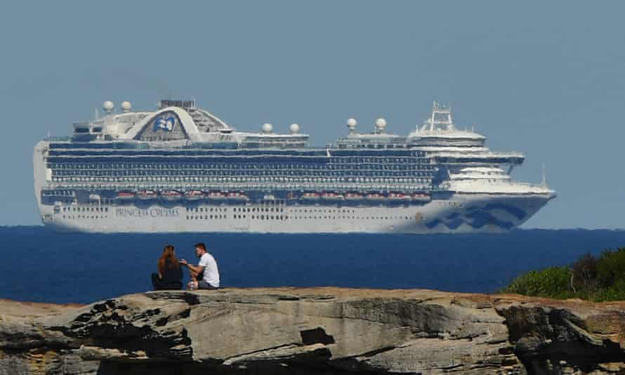 The Ruby Princess sits off the coast of Sydney, 5 April 2020
