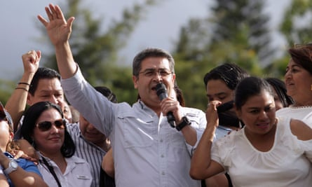 Juan Orlando Hernández speaks during a rally in his brother's support in Tegucigalpa, Honduras, on 9 October.