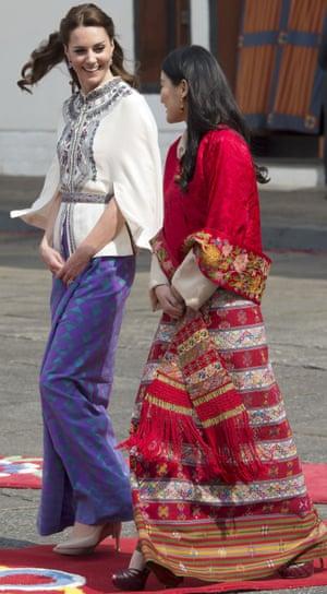 Kate wearing a traditional Bhutanese dress.