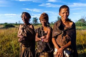 Three generations of women in a San Bushmen family.