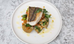 Off the scale: a particularly nice big piece of hake served with sauté of globe artichokes.