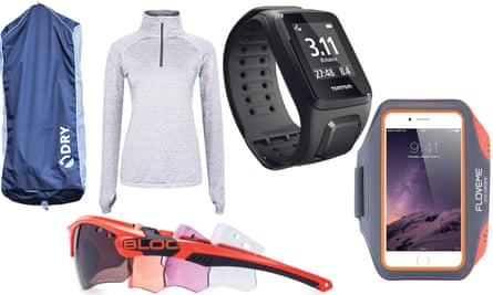From left: The Dry Bag, Titan X632 Sunglasses plus extra lenses, Bellum grey zip up running top, TomTom Spark 3 Fitness Watch, Floveme Universal Smartphone Armband