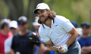 Tommy Fleetwood watches a tee shot during his impressive first-round 65 in the Players Championship at Sawgrass.