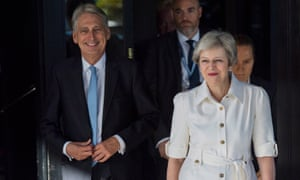 Theresa May arrives at the conference with Philip Hammond.
