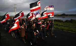 Protesters occupying Ihumātao land march on Jacinda Ardern's office in August as part of the landmark New Zealand Māori land rights dispute.