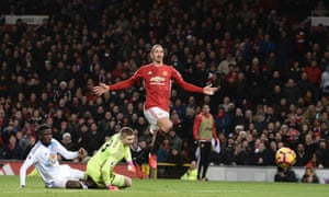 Zlatan Ibrahimovic lifts the ball over Sunderland goalkeeper Jordan Pickford to score Manchester United's second goal in their 3-1 win over Sunderland. It was his 17th goal of the season and his 50th of 2016