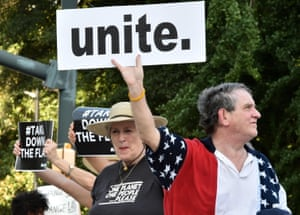 Hundreds gather for a protest rally against the Confederate flag in Columbia, South Carolina, on 20 June.