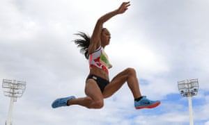 The 25-year-old competes in the long jump.