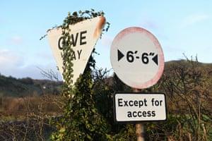 Rising Five: Road signs, A595, Chapels, Cumbria