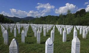 An aerial view of the memorial center in Potocari near Srebrenica.