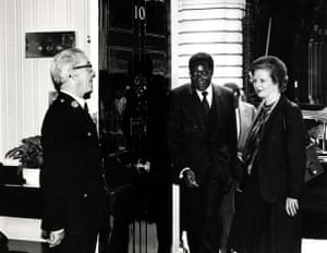 The British prime minister, Margaret Thatcher, greets Robert Mugabe on the steps of No 10 Downing Street as he arrives for talks.