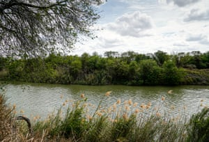 The Rio Grande River acting as a boundary between the US and Mexico at the Santa Ana national wildlife refuge.