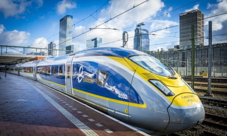 A Eurostar train arrives at Rotterdam Central station during testing of the service.