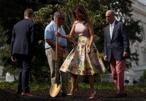 Melania Trump in the White House garden.