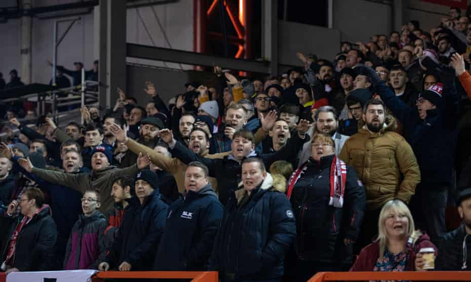 Fans watch Nottingham Forest v Reading in January 2020