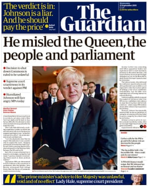 Guardian front page, Wednesday 25 September 2019
